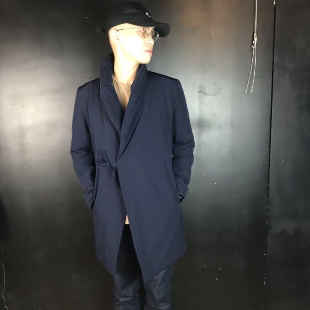 第二件六折*新品深藍色中國風翻領綁帶長款大衣/外套