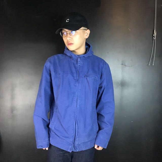 第二件六折*新品寶藍色簡單素面厚帆布連帽工裝外套