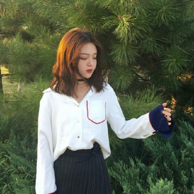 韓系撞色翻領襯衫
