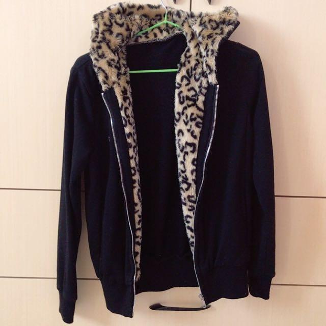 ✨豹紋毛款黑色雙口袋拉鍊外套