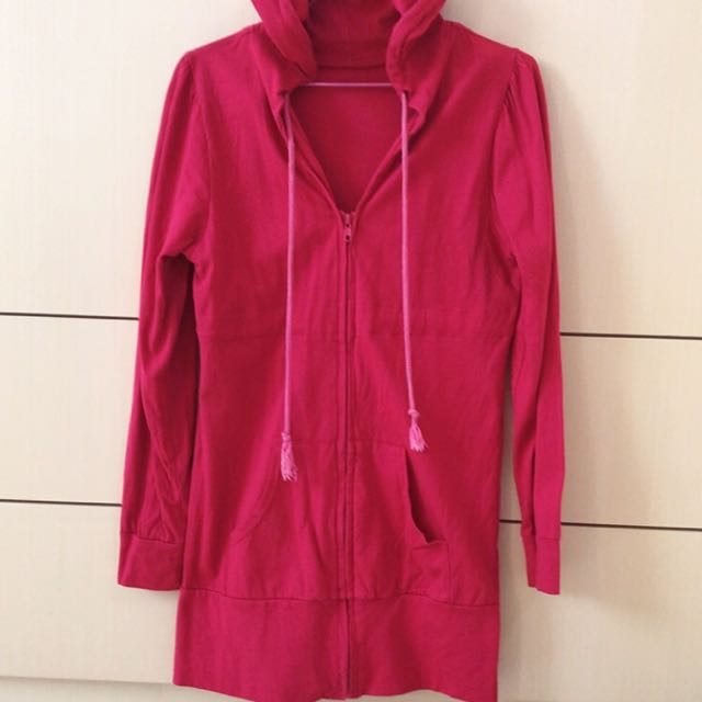 🎀桃紅色連帽長版雙口袋拉鍊外套