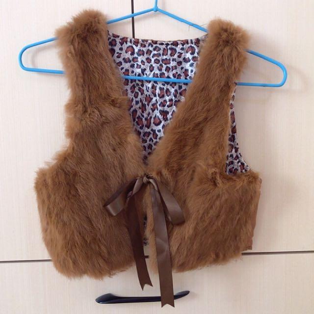 🌟毛質很軟豹紋小背心蝴蝶結綁帶