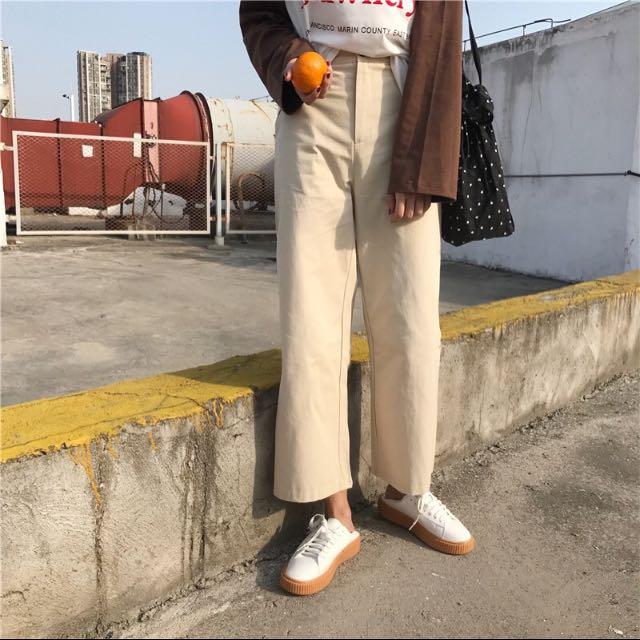 棉麻挺直筒褲