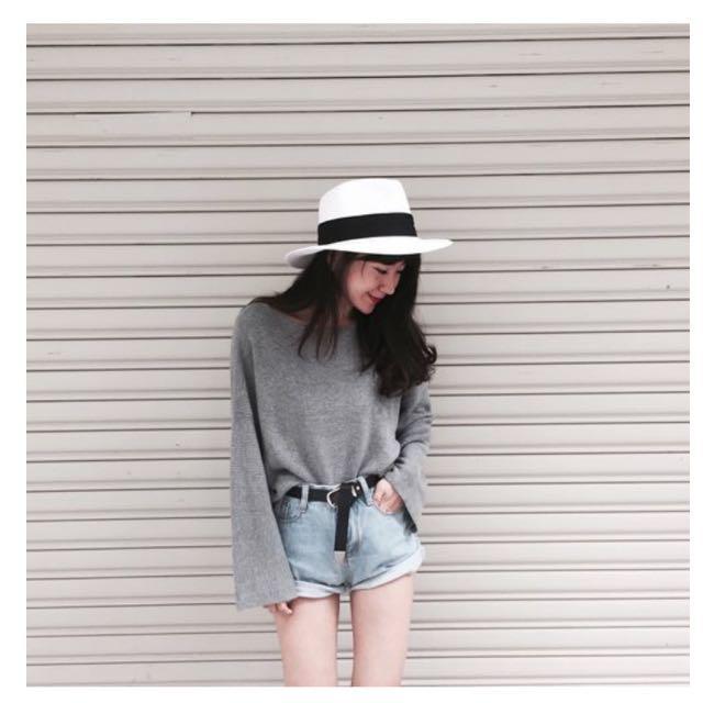 圓領寬袖毛衣灰色