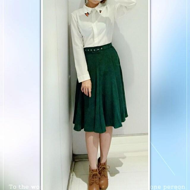💘九折💘深綠色絨布中長裙含腰帶