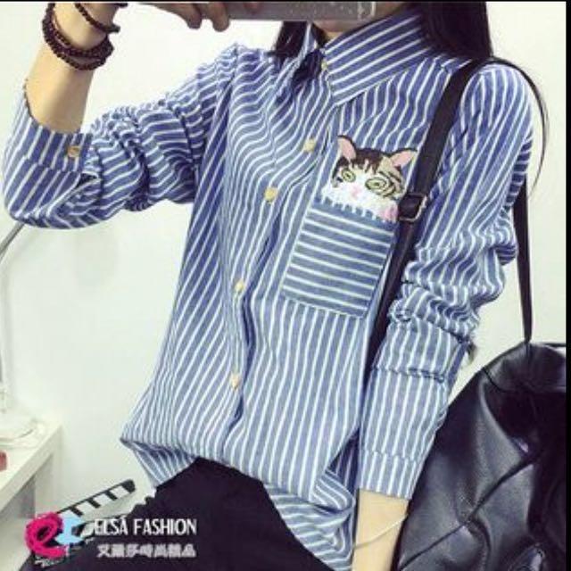 貓咪刺繡條紋襯衫
