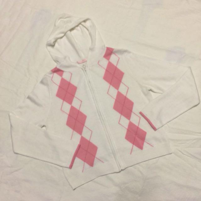 粉白格針織外套
