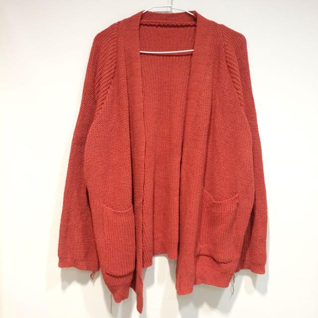 橘紅 開襟 針織 外套