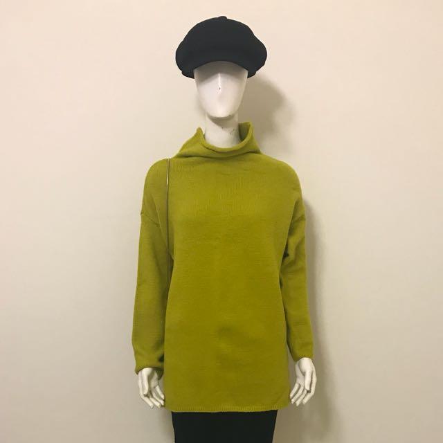 全新黃色 寬鬆 柔軟 休閒 百搭針織毛衣