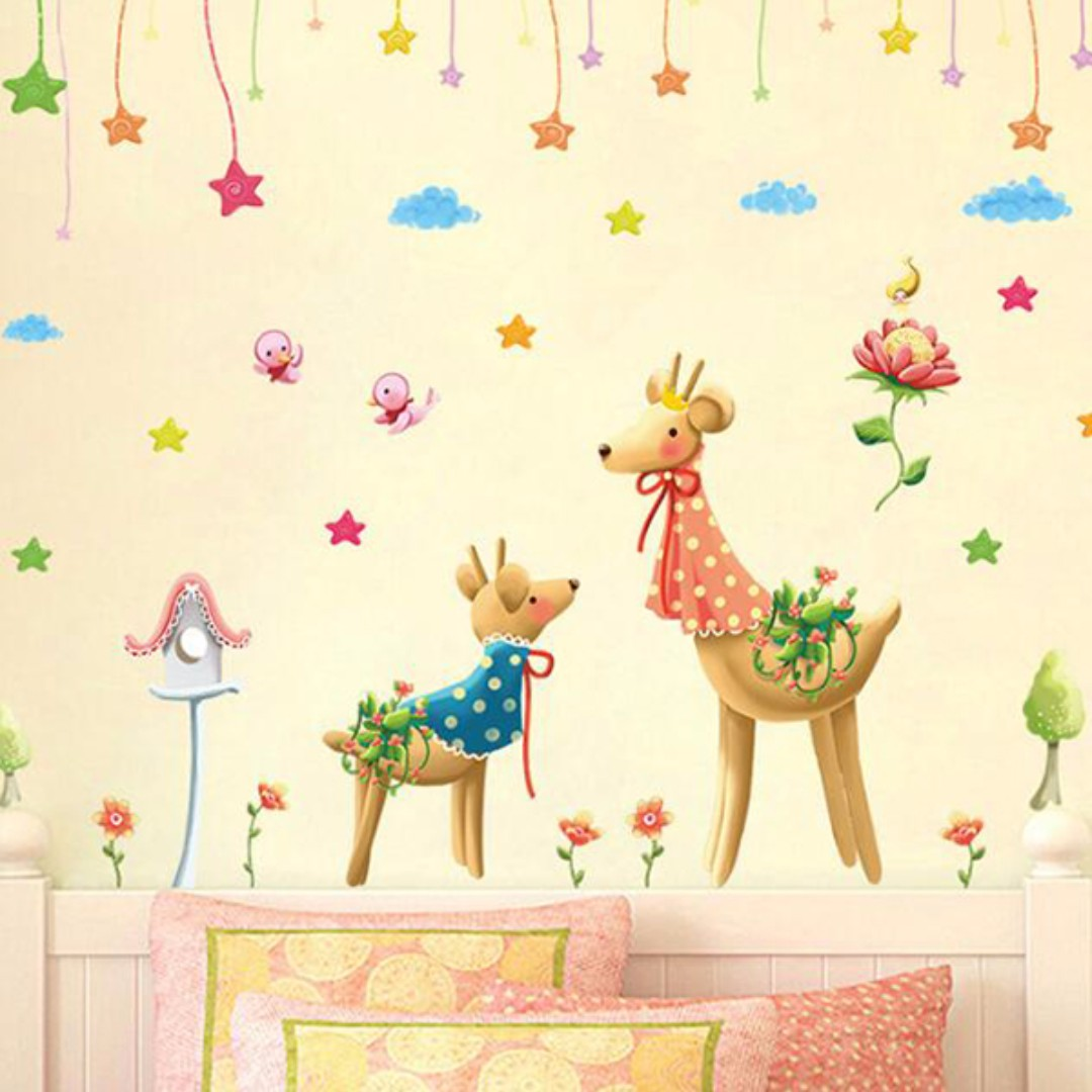 【現貨】壁貼可愛小鹿 聖誕節 交換禮物 超商取貨 壁紙 牆貼 JB0379《可愛小鹿 XL7191》【居家城堡】