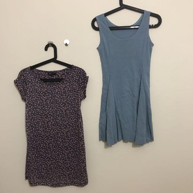 全新 花花裙+藍色棉質A字裙 低價出清 兩件只要300含運
