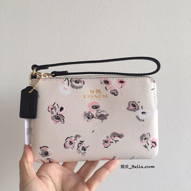 美國代購🇺🇸 Coach 新款超美 白色小花 單層手拿包 手拿包 白色 萬用包 卡包
