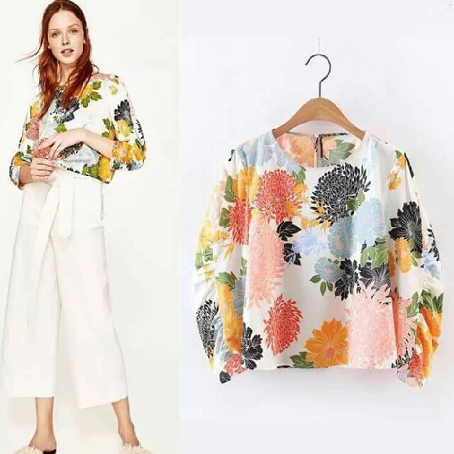 🎄 New! Sale Price!  🎁 Great Gift Idea   🔖Php380 only!  ZARA INSPIRED LANTERN FLORAL TOP  📍Freesize: Fits Medium to Semi Large  📍1 Color  📍Pre-order