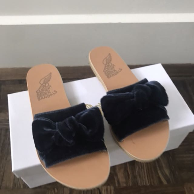 07a64bc93b63 Ancient Greek Sandals - Taygete velvet Bow in navy (size 36 ...