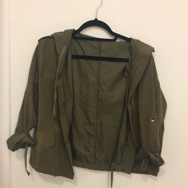 Army green jacket with hood