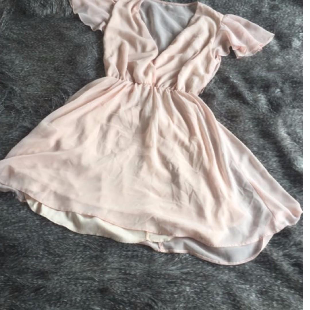Asos Baby Pink Chiffon Skater Dress