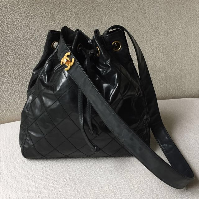 AUTHENTIC CHANEL Bucket Drawstring Bag