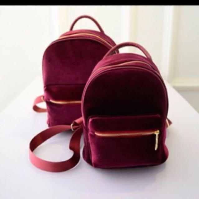 Beautiful velvet backpack