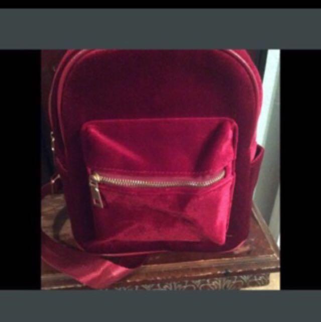 Beautiful velvet backpack