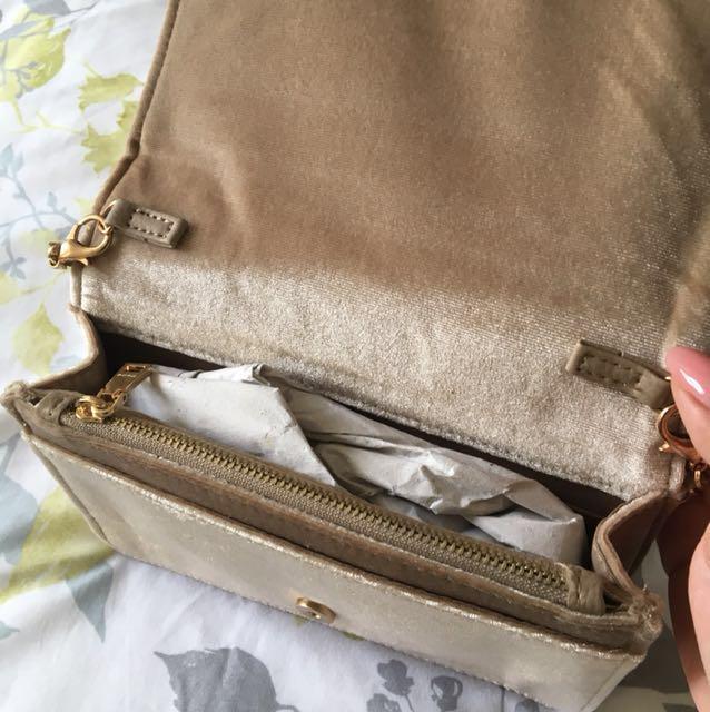 Bebe Rose Gold Velvet Shoulder Bag