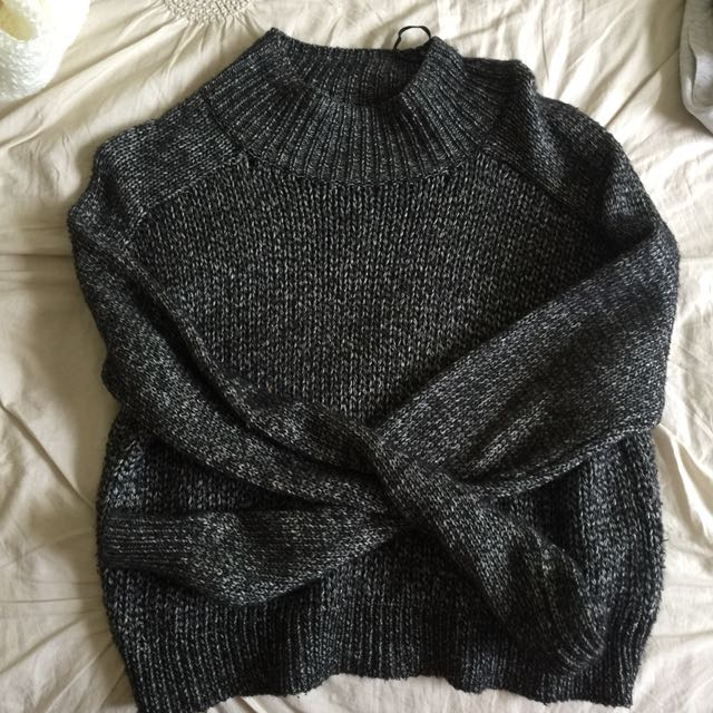 Black and grey knitted jumper