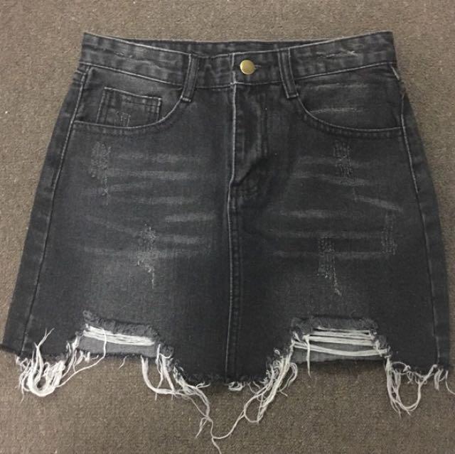 Black Grey Ripped Denim Skirt