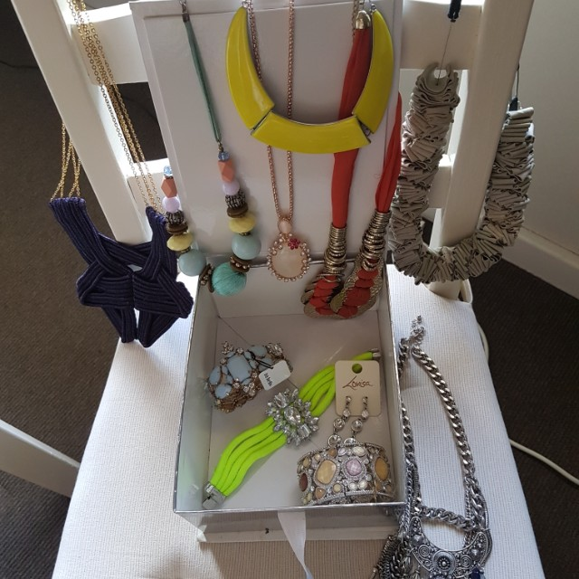 Box of dress jewellery and accessories