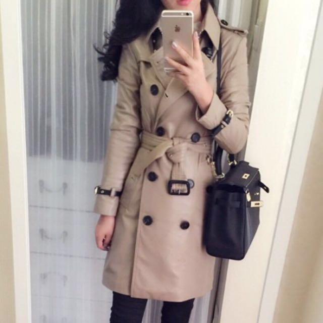 真皮羊皮歐美街拍英國經典卡其色淺駝色奶茶色米色淺棕色英倫長版皮衣風衣皮大衣BURBERRY風格