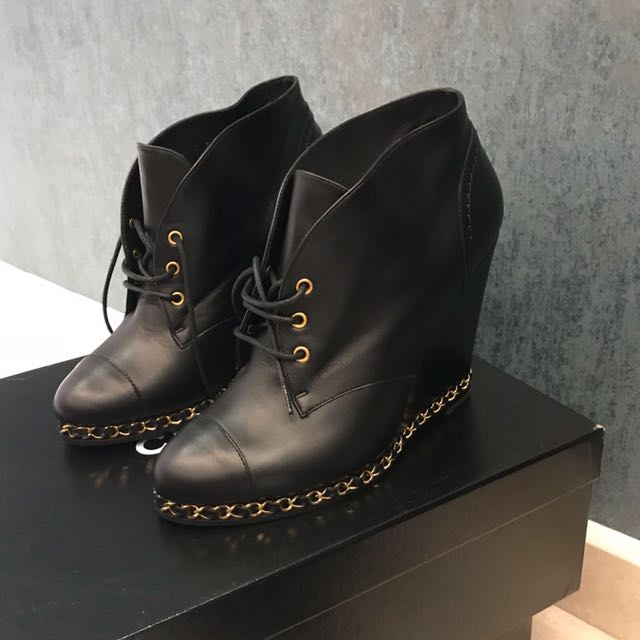 0a426c5d2f2 Chanel Brand New ankle wedge boots