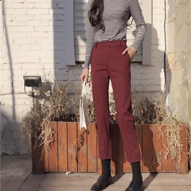 新款韓版復古chic高腰顯瘦褲腳開叉刺繡字母港味九分直筒休閒褲女