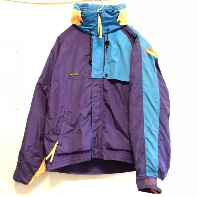 Columbia 80s-90s戶外登山外套 古著 撞色連帽 多種穿法 台灣製 12月