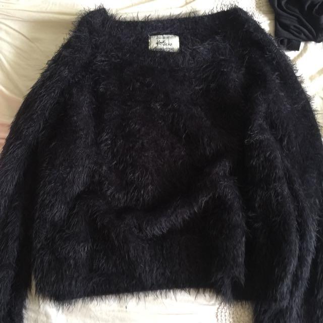 Cotton on fluffy black jumper