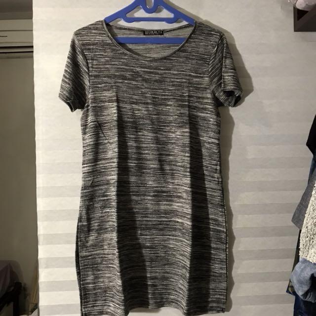 Cotton on slit dress grey