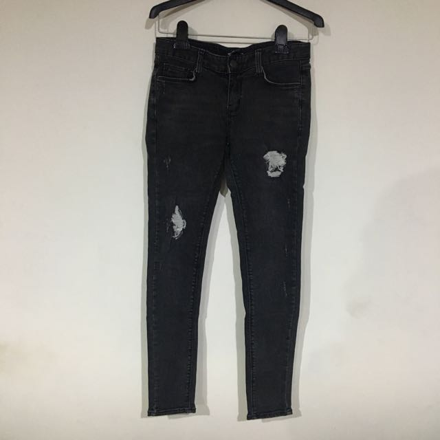 Cp高韓國全新好彈好耐穿SUDA黑色窄管牛仔褲27