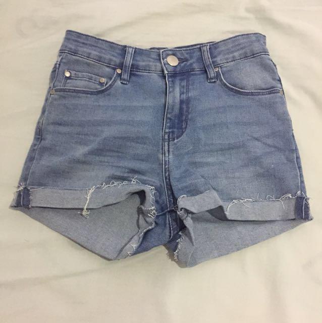 Custom made high waisted denim shorts