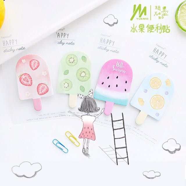 Cute ice pop memo note sticky note kawaii fruit