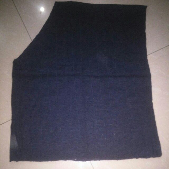 Dark blue knitted poncho