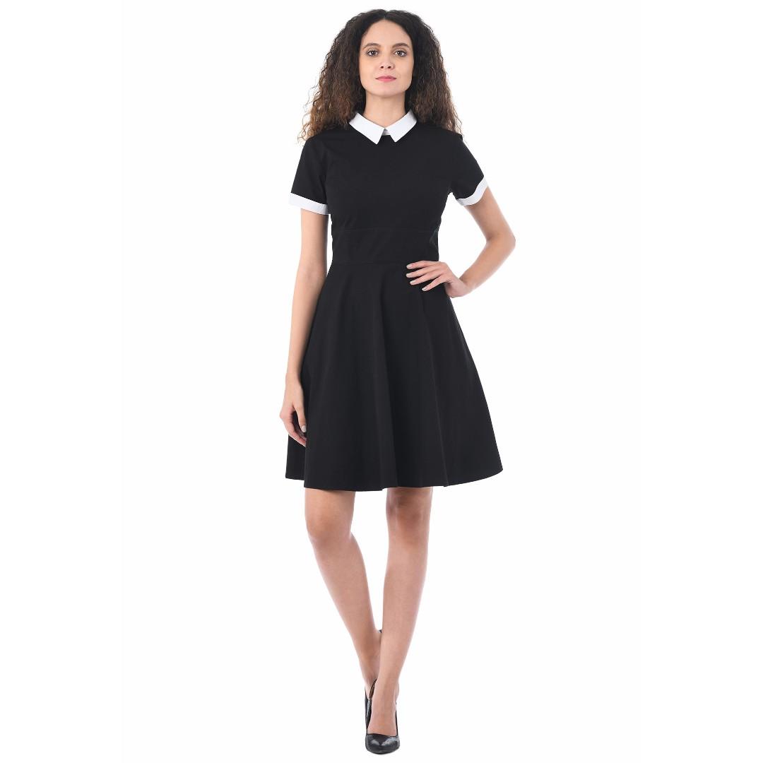 43b346000f1 Eshakti Peter Pan Collar Skater Dress (Plus Size)
