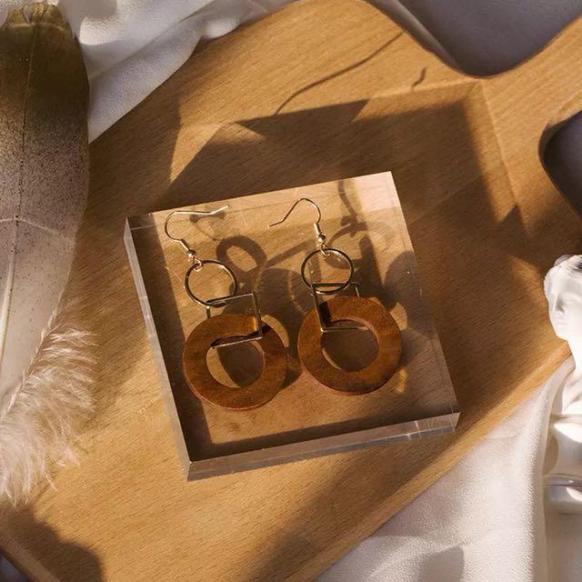 Exotic wooden earrings