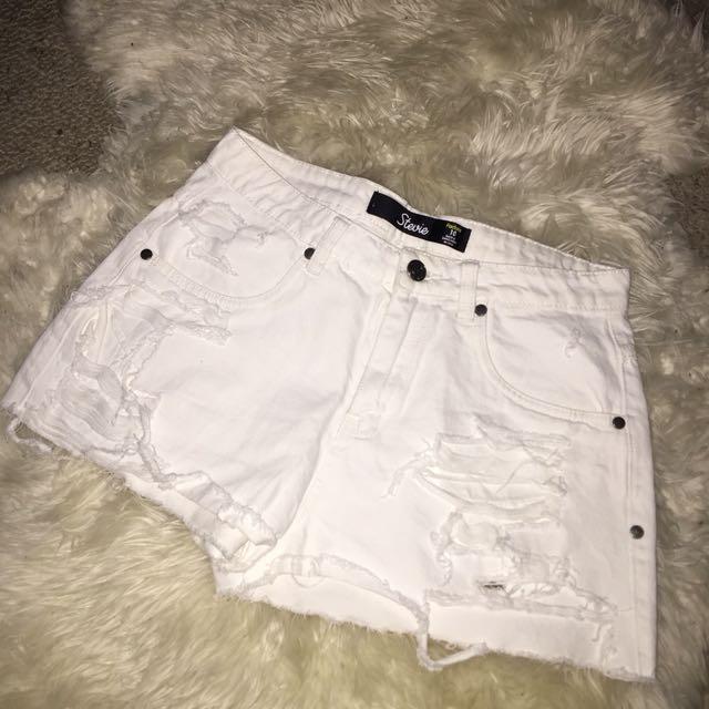 Factorie White Shorts (DIY DISTRESSING)