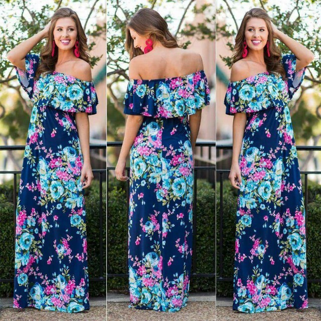 Floral Off shoulder Maxi Dress (Pre-Order)