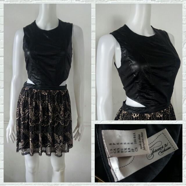 Forever 21 Exclusives Leather And Lace Dress