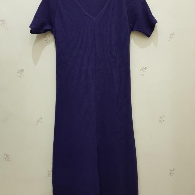 Front slit purple dress