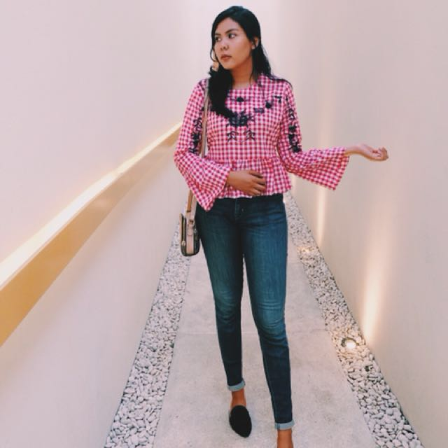 Gingham flare top