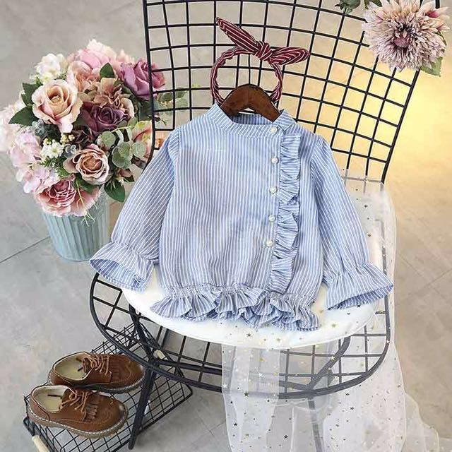 Girls blue tops with pearl 130cm
