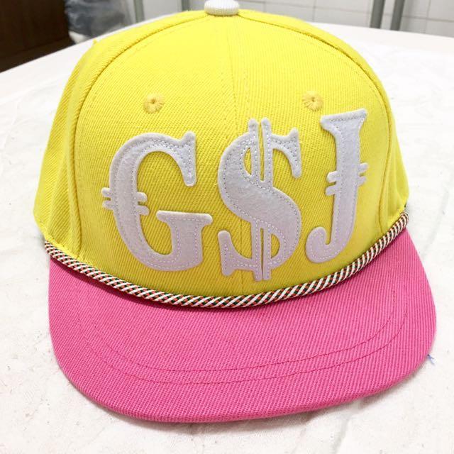 G$J雙配色棒球童帽(粉紅黃)*出清*