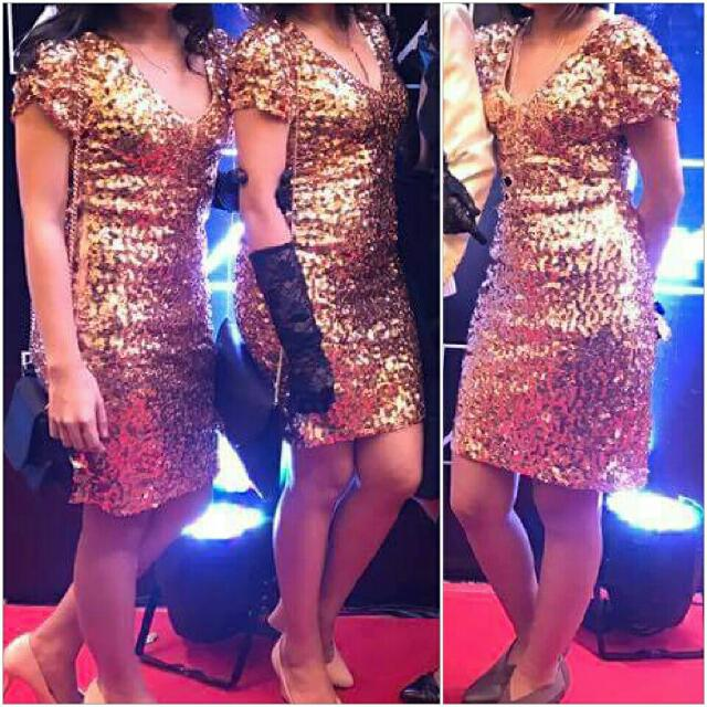 Gold Sequined Bodycon Dress