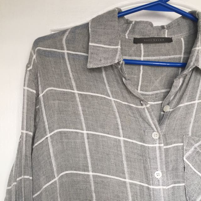 Grey And White Grid Flannel
