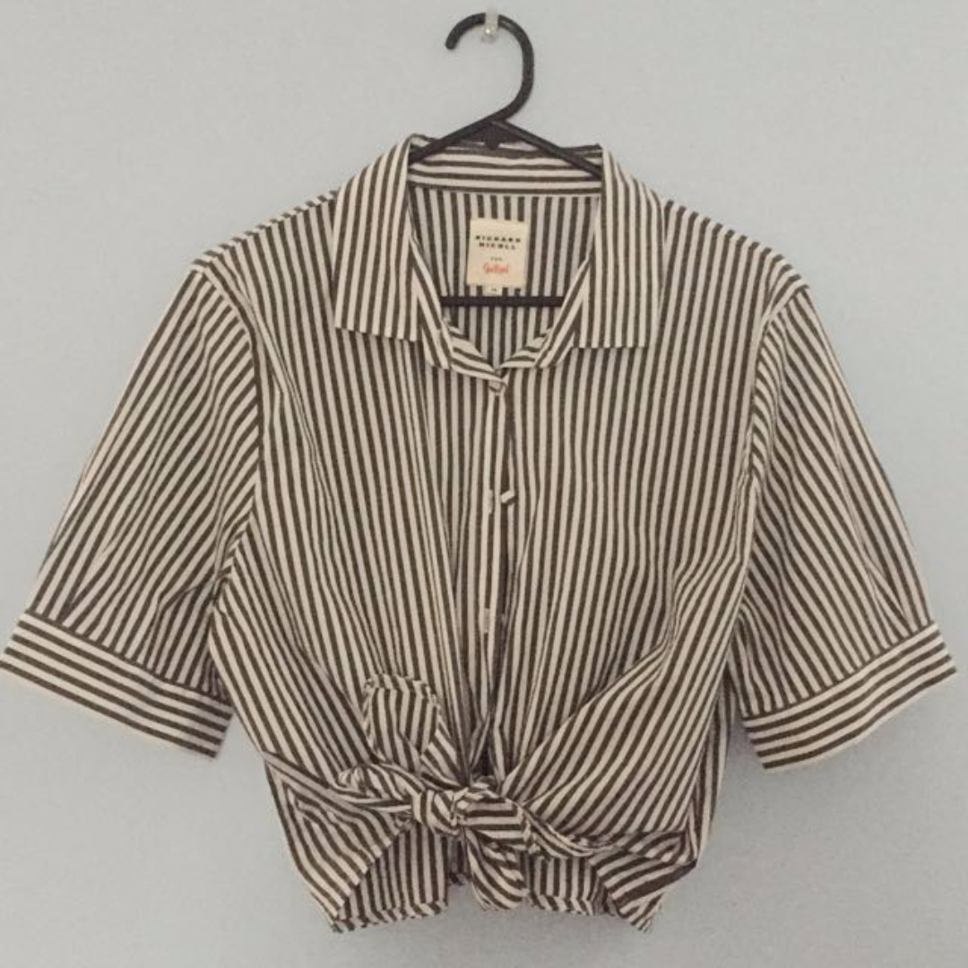 Grey and White Striped Tie-up Shirt