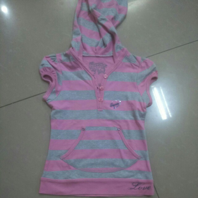 Guess stripe shirt with hood